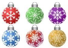 Ornamenti di Colorfull con il reticolo dei fiocchi di neve Fotografia Stock Libera da Diritti