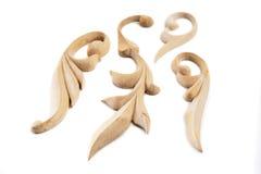 Ornamenti di legno scolpiti decorativi Fotografia Stock Libera da Diritti