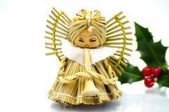 Ornamenti di Natale - ornamento dell'albero di Natale di angelo ed agrifoglio verde fotografia stock libera da diritti