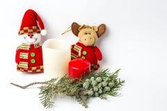 Ornamenti di natale sfere Giocattoli Il Babbo Natale; Candele; Regali; Fotografia Stock Libera da Diritti