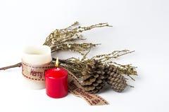 Ornamenti di natale sfere Giocattoli Il Babbo Natale; Candele; Regali; Immagini Stock Libere da Diritti