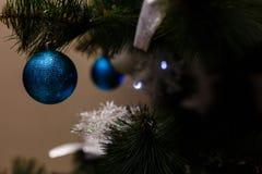 Ornamenti di natale su un albero Fotografie Stock Libere da Diritti
