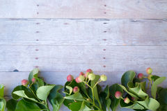 Ornamenti di Natale su un fondo di legno Immagine Stock Libera da Diritti