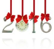 2016 ornamenti di numero con l'orologio Fotografia Stock