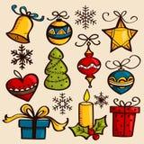 Ornamenti disegnati a mano di Natale Fotografia Stock Libera da Diritti