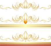 Ornamenti dorati per tre blocchi per grafici decorativi Fotografia Stock