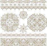 Ornamenti e modelli asiatici kazaki stabiliti Fotografie Stock Libere da Diritti