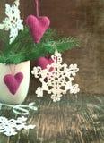 Ornamenti fatti a mano di Natale Fotografie Stock