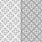 Ornamenti floreali bianchi e grigi Insieme degli ambiti di provenienza senza giunte Fotografia Stock