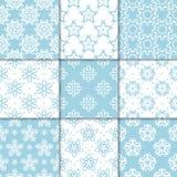 Ornamenti floreali blu e bianchi Accumulazione dei reticoli senza giunte Fotografia Stock