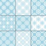 Ornamenti floreali blu e bianchi Accumulazione dei reticoli senza giunte Fotografia Stock Libera da Diritti