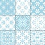 Ornamenti floreali blu e bianchi Accumulazione dei reticoli senza giunte Fotografie Stock Libere da Diritti