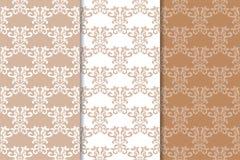 Ornamenti floreali di Brown Insieme dei modelli senza cuciture verticali Immagine Stock