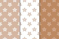 Ornamenti floreali di Brown Insieme dei modelli senza cuciture verticali Immagini Stock