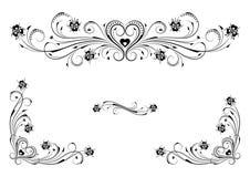 Ornamenti floreali di cuore Fotografia Stock Libera da Diritti