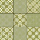 Ornamenti floreali di verde verde oliva Accumulazione dei reticoli senza giunte Immagine Stock