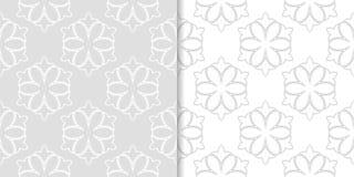 Ornamenti floreali grigio chiaro Insieme dei reticoli senza giunte Immagini Stock Libere da Diritti