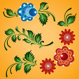 Ornamenti floreali impostati Fotografia Stock Libera da Diritti