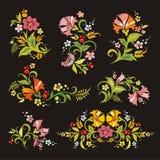 Ornamenti floreali nello stile russo Fotografia Stock Libera da Diritti