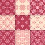 Ornamenti floreali rosso ciliegia e beige Accumulazione dei reticoli senza giunte Fotografia Stock