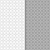 Ornamenti geometrici grigi e bianchi Insieme dei reticoli senza giunte Fotografia Stock