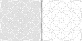 Ornamenti geometrici grigio chiaro Insieme dei reticoli senza giunte Immagine Stock Libera da Diritti