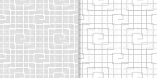 Ornamenti geometrici grigio chiaro Insieme dei reticoli senza giunte Fotografie Stock Libere da Diritti
