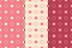 Ornamenti geometrici rosso ciliegia Insieme dei reticoli senza giunte Fotografia Stock Libera da Diritti