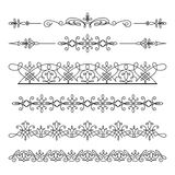 Ornamenti lineari d'annata del confine su bianco Immagine Stock Libera da Diritti