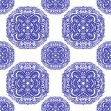 Ornamenti marocchini delle mattonelle nei colori blu e bianchi Fotografia Stock Libera da Diritti