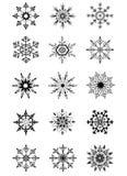 Ornamenti neri dei fiocchi di neve della raccolta Fotografia Stock