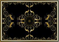 Ornamenti orientali dell'oro per la coperta nella priorità bassa scura Immagine Stock