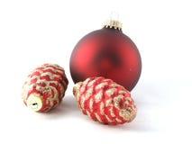 Ornamenti rossi dell'albero Fotografia Stock