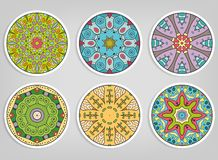Ornamenti rotondi decorativi messi, elementi isolati di progettazione fotografia stock