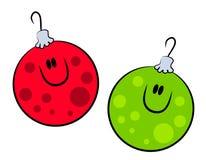Ornamenti sorridenti di natale del fumetto Fotografie Stock Libere da Diritti