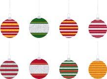 Ornamenti a strisce dell'albero di Natale di scintillio Fotografia Stock Libera da Diritti