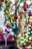 Ornamenti vetrosi di natale Fotografia Stock Libera da Diritti