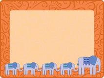 Ornamentkader met olifant en zijn jonge geitjes Royalty-vrije Stock Foto