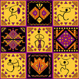 Ornamento étnico com figuras estilizados Fotos de Stock Royalty Free