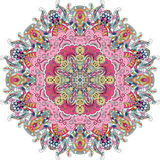 Ornamento étnico del mehndi del Tracery Adorno que calma discreto indiferente, diseño armonioso colorido que garabatea usable Vec imagenes de archivo
