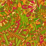 Ornamento étnico del mehndi del Tracery Adorno que calma discreto indiferente, diseño armonioso colorido que garabatea usable Vec Fotos de archivo