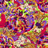 Ornamento étnico del mehndi del Tracery Adorno que calma discreto indiferente, diseño armonioso colorido que garabatea usable Vec Imágenes de archivo libres de regalías