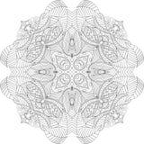 Ornamento étnico do mehndi do Tracery Motivo de acalmação discreto indiferente, projeto harmonioso colorido rabiscando útil Vetor Fotografia de Stock