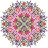 Ornamento étnico do mehndi do Tracery Motivo de acalmação discreto indiferente, projeto harmonioso colorido rabiscando útil Vetor Imagens de Stock