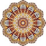 Ornamento étnico do mehndi do Tracery Motivo de acalmação discreto indiferente, projeto harmonioso colorido rabiscando útil Vetor Foto de Stock