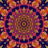 Ornamento étnico do mehndi do Tracery Motivo de acalmação discreto indiferente, projeto harmonioso colorido rabiscando útil Vetor Fotografia de Stock Royalty Free