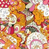 Ornamento étnico do mehndi do Tracery Motivo de acalmação discreto indiferente, projeto harmonioso colorido rabiscando útil Vetor Imagens de Stock Royalty Free