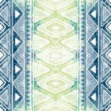 Ornamento étnico sem emenda textura da aquarela Gra branco e azul Imagem de Stock Royalty Free