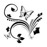 Ornamento abstrato com flor e borboleta ilustração royalty free