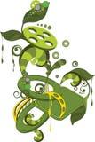 Ornamento abstrato com folhas e engrenagens Fotografia de Stock Royalty Free